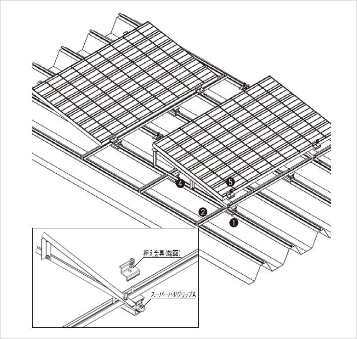 ハゼ式折板屋根設置(レール傾斜工法)施工分解図